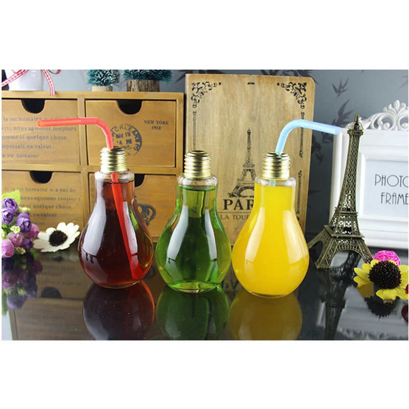 Hot Selling 200ml Light Bulb Glass Beverage Tea Water Drink Bottle Jug With Lid Terrarium For Home Coffee Shop Decor Idea Gift