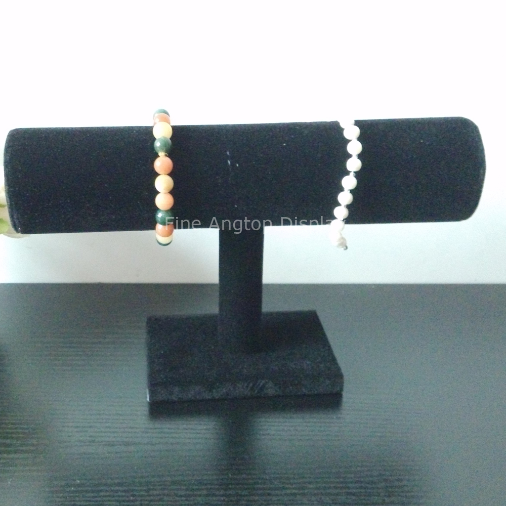 Black Velvet T-Bar Bracelet Necklace Jewelry Display Stand for Desktop Organization