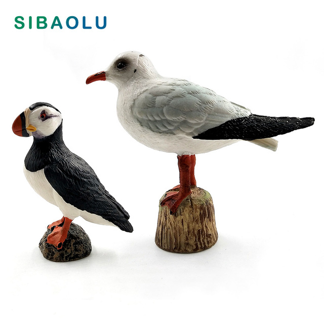 Simulation Cute Seagull Puffin Sea Bird Animal Model Figurine Home Decor Miniature Fairy Garden Decoration Accessories