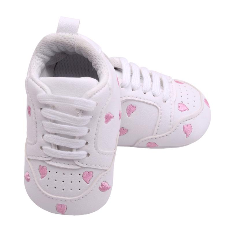 White Baby Shoes Casual Newborn First Walker Pink Love Heart Winter Soft Anti-slip Infant Footwear