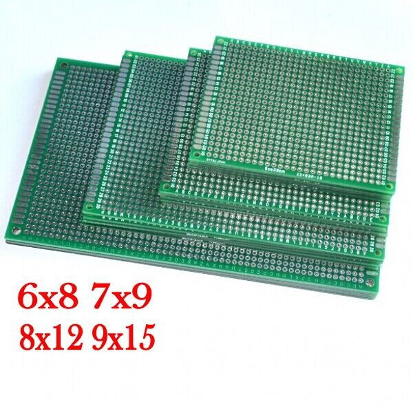 4pcs 6x8 7x9 8x12 9x15 cm 6*8 7*9 8*12 9*15cm double Side Copper prototype pcb Universal Board for Arduino Free Shipping