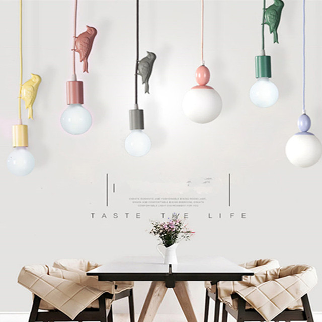 modern nordic macaroon creative color birds child room pendant light rh aliexpress com Pendant Light Fixtures LED Pendant Lights