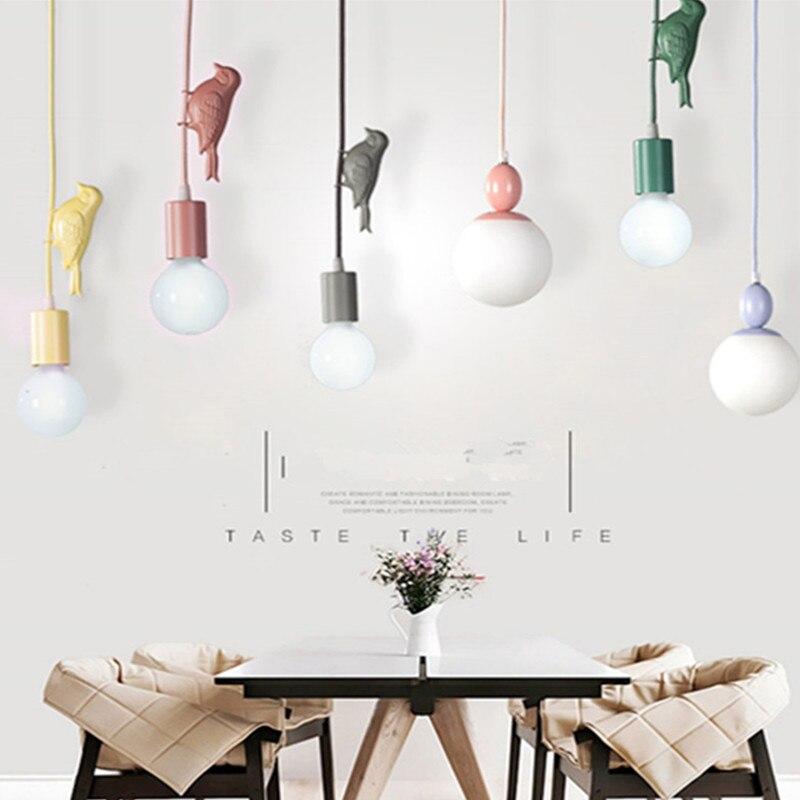 Modern Nordic Macaroon Creative Color Birds Child Room Pendant Light Kids Bedroom Light Simple Dinner Light Free Shipping