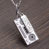 FNJ 925 Silver recorder Pendant Punk Lucky Original Pure S925 Silver Pendants for Women men Jewelry Making