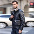 Men's Genuine Sheepskin Leather Duck Down Coat with Mink Fur Collar Male Trend Short Design Jacket Navy Blue Plus Size XXXXL 3XL