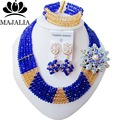 2017 Fashion Blue Nigeria Wedding african beads jewelry set Crystal Bridal jewelry sets Free shipping WIN009