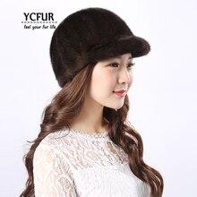 YCFUR, модная женская шапка, s шапки, зимние теплые шапки ручной работы из натурального меха норки, шапки бини, женская шапка из настоящей норки, шапка для девочек