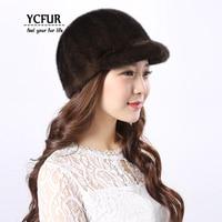 YCFUR Fashion Women's Caps Hats Winter Warm Handmade Genuine Mink Fur Hats Beanies Female Real Mink Cap Hat For Girls