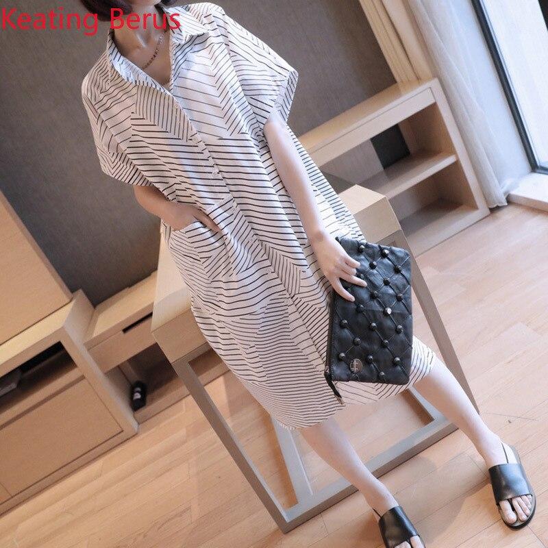 Summer Blouse Korean Fashion Long Striped Short-sleeved Loose Large Size Shirt Chiffon Shirt Women
