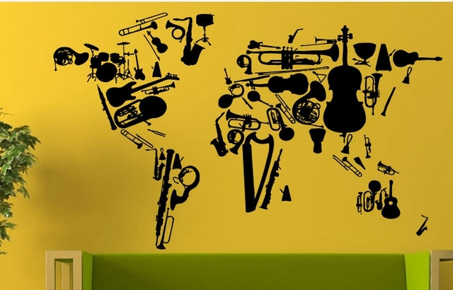 Music Vinyl Wall Decal Music Instrument Violin Piano Guitar World