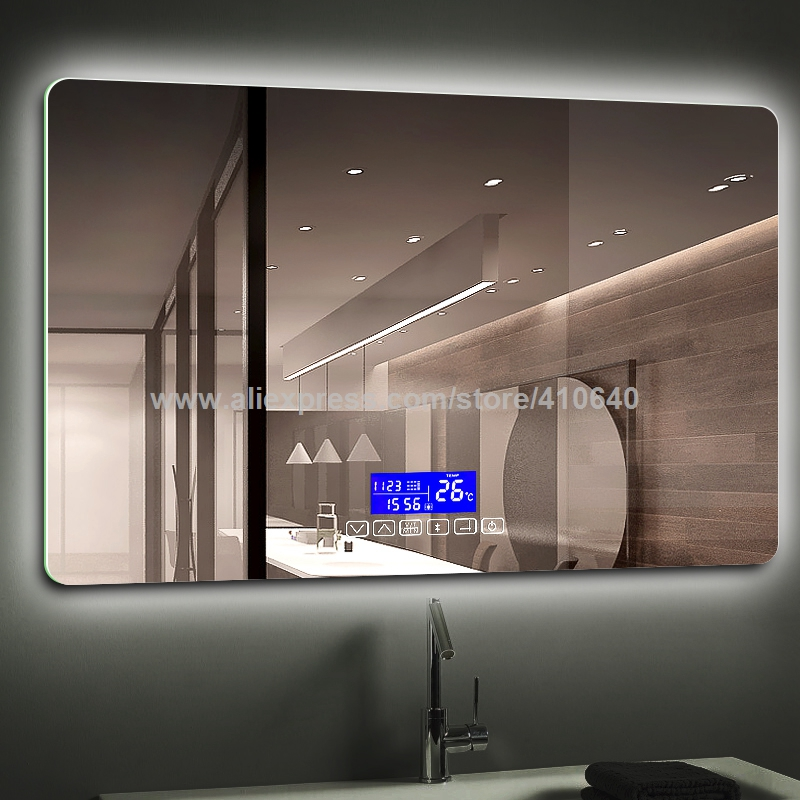 K3015 Series Light Mirror Touch Switch With Bluetooth Fm Radio Temperature Date Calendar Display for Bathroom