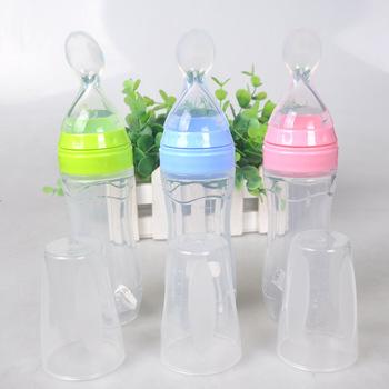 Baby Silicone Care Feeding Bottle Extrusion Type Feeding Infant Kids Spoon Rice Paste Feeding 120ML Bottle tanie i dobre opinie Dzieci Sztućce Nitrosamine darmo Lateksu Ftalanów BPA za darmo 4-6 M 10-12 M Język naciskając typu BY065 Stałe