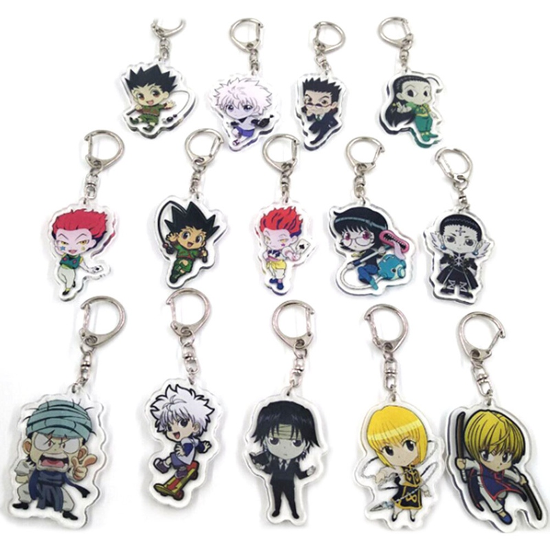 HUNTER X HUNTER Anime Killua Zoldyck Kurapika Key Chains Two-sided Keychain Cosplay Acrylic Pendant Keyring