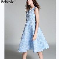 Bebovizi Fashion 2018 Brand Top Quality Fabric Summer Elegant Dress For Women Blue Pink Beautiful Robe