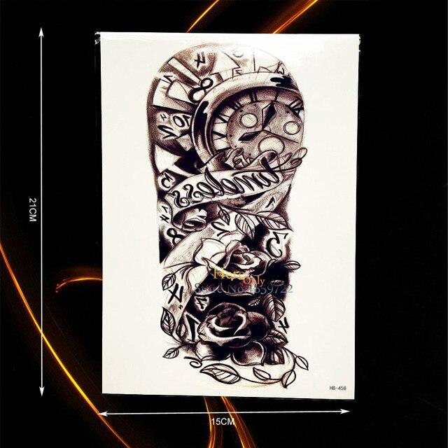1 Pieza Sexy Sketch Rosas Reloj Flor Brazo Manga Tatuaje Hombres
