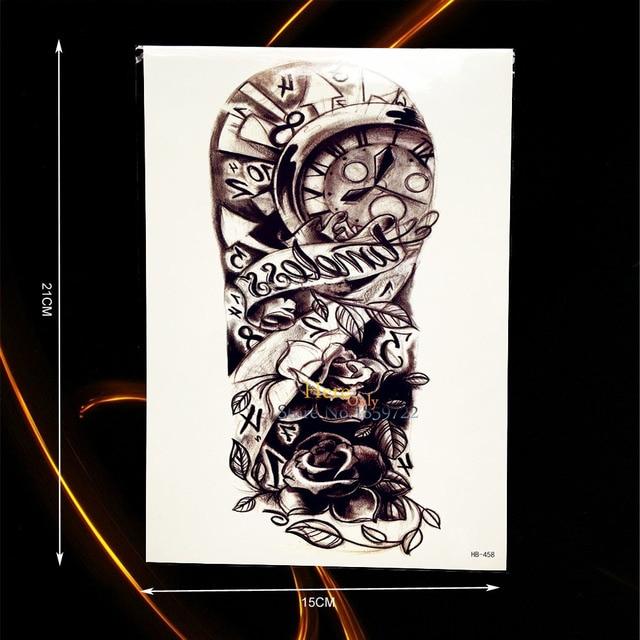 1 Unid Sexy Boceto Rosas Reloj Flor Brazo Manga Tatuaje Hombres