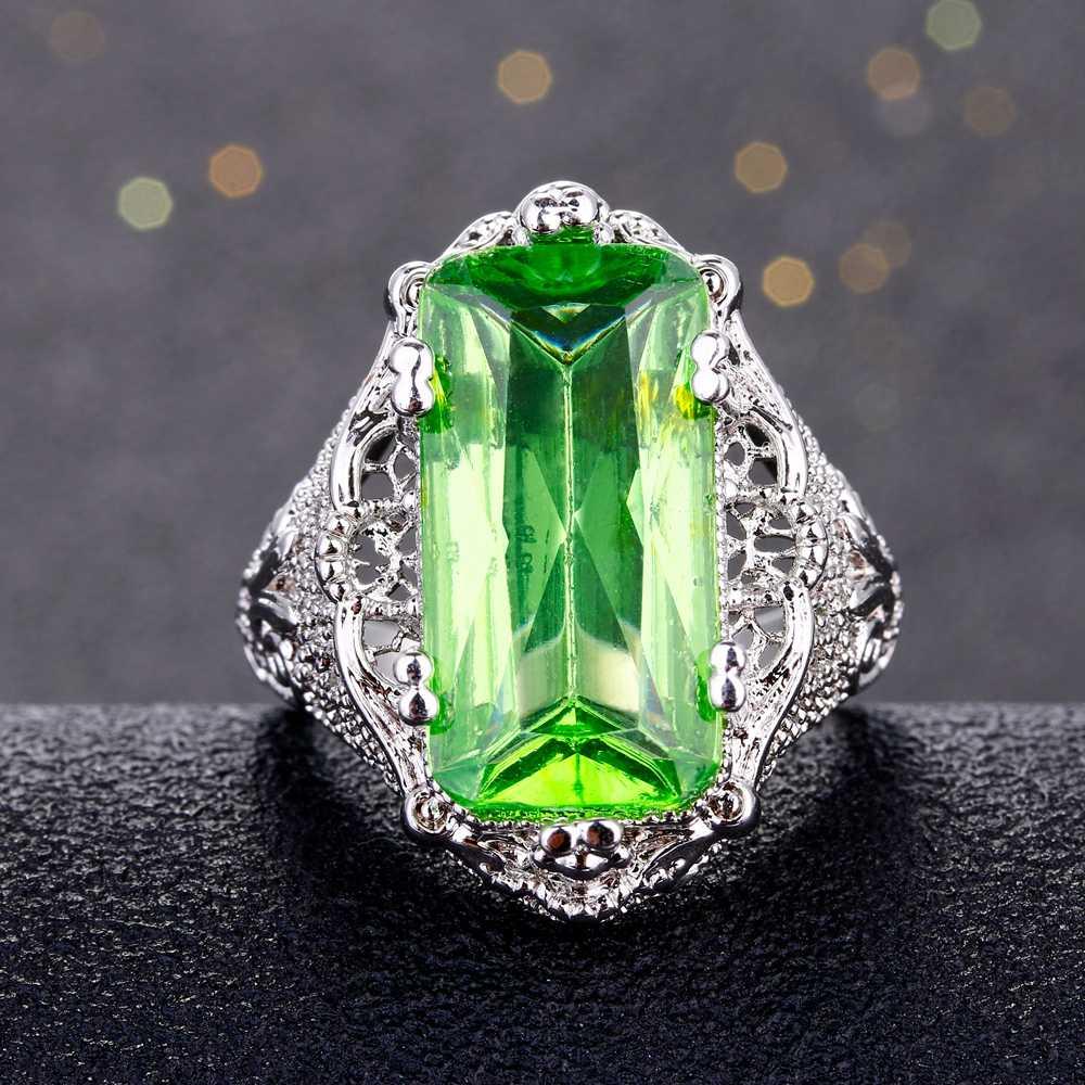 CiNily роскошный большой кружевные кольца посеребренные бледно-зеленый квадрат камень гипербола коктейльное вечерние Винтаж ювелирные изделия женщина мужчина