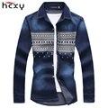 Primavera 2015 nueva impresión mens jeans camisa de manga larga slim fit camisa de los hombres de mezclilla de moda importados de china famosa marca camisa 5XL