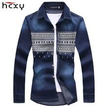 Frühling 2015 neue druck herren jeans hemd slim fit fashion jeanshemd männer china importierte berühmte marke hemd 5XL