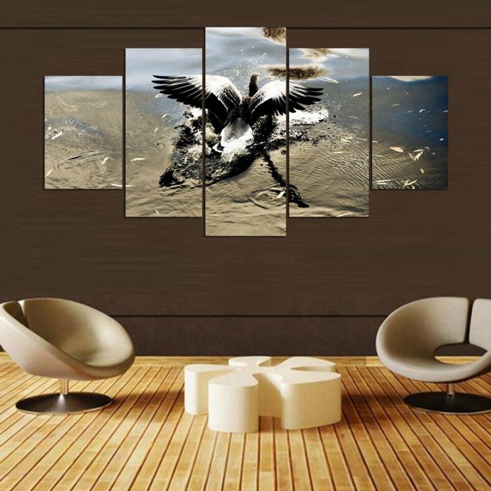 Modernes Haus Wandkunst dekors Rahmen 5 Panel Tier Vogel federn ...