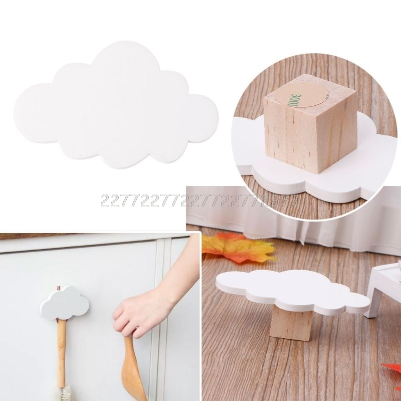 Cute Cloud Hooks Wooden Clothes Hanger Wall Decor Children Bedroom Pendant