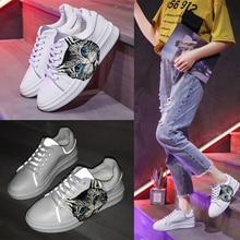 купить 2019 New Women Lace-up Luminous Sneakers Cat head White Sneakers Flat Comfortable Sports Shoes по цене 1475.67 рублей