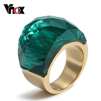 2015 New Big Stone Rings For Women Silver Gold Plated Stainless Steel Ring Jewelry