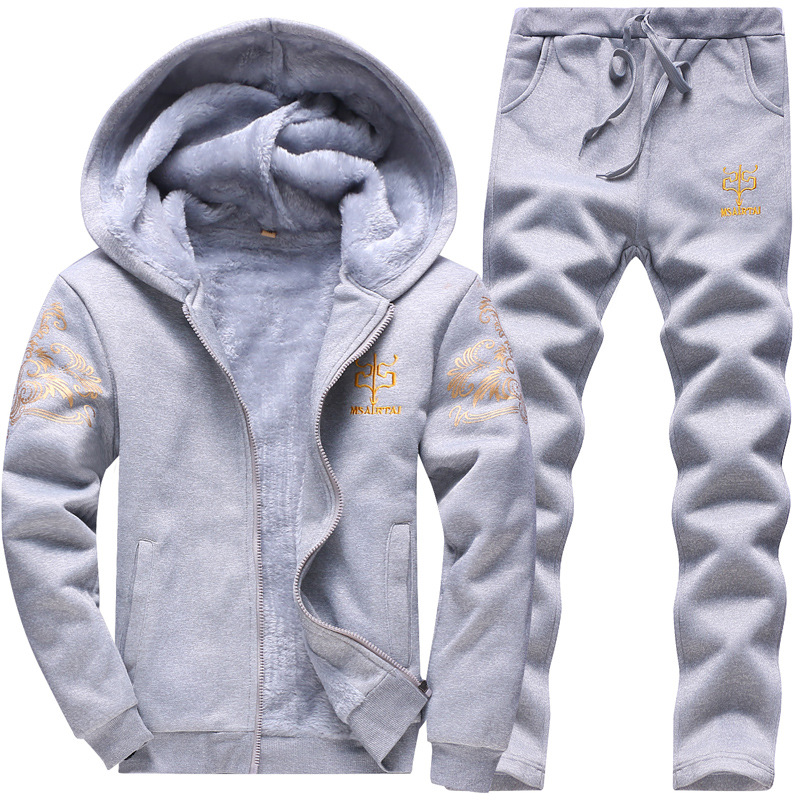 Men Winter Warm Hoodies Sweatshirt 2017 Fashion Brand Tracksuit for Men Fleece Jacket+pants 2 Pac Set Velvet Coats Men Hoodies