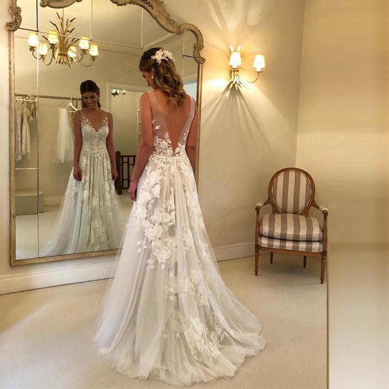 Sexy Wedding Dresses Long V Neck Party Gowns Back Deep V Appliques Vestido De Noiva Vestido De Novia Fotos Reales