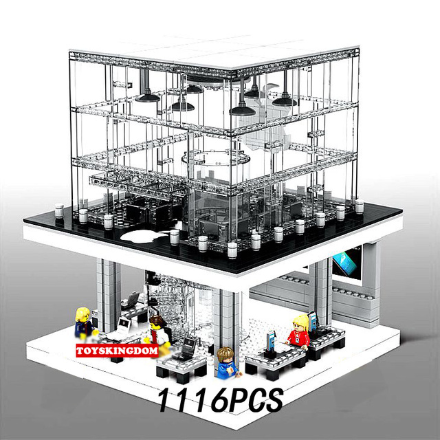 Hot city street view Apple Flagship store moc building block with light saleman customer figures bricks minifigs toys collection