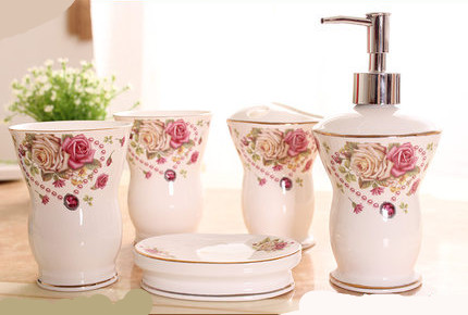 Multi-styles China Ceramic 5pcs Bathroom Item Fashion Modern Toothbrush Holder Bathroom Accessories image