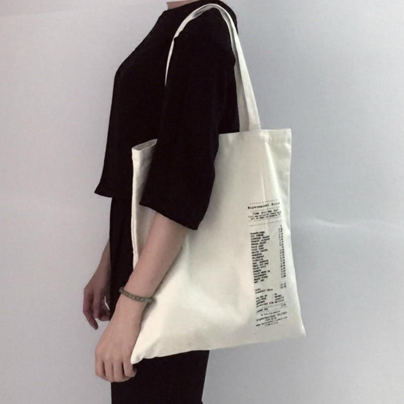 Women Canvas Tote Bag Cotton Cloth Letter Print Shopping Bags Foldable Female Handbag Reusable Eco Beach Shopper Bag Canta Bayan
