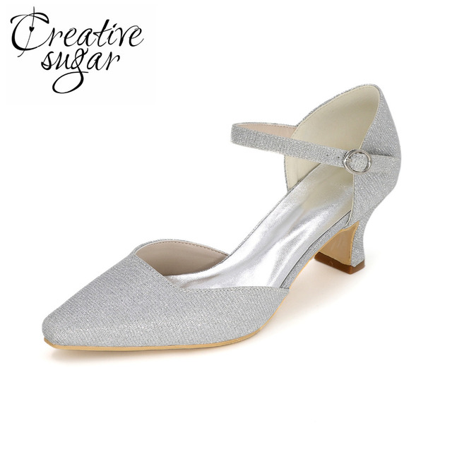 a2be680b9a8b Creativesugar Fashion woman pointed toe D orsay glitter low medium heel  shoes wedding party prom cocktail heels silver gold red