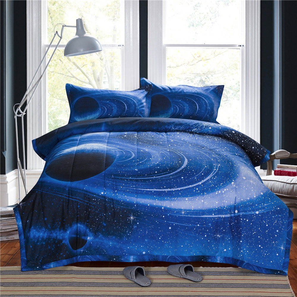 3d galaxy comforter bedding sets queen size universe outer for Outer space quilt