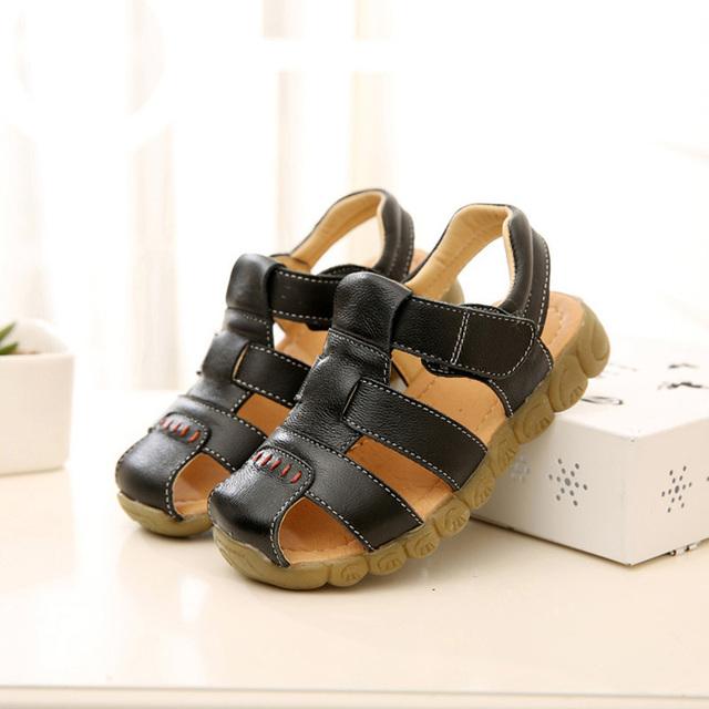 Sandálias da criança verão sandálias de couro de alta qualidade Enfant Garcon infantis macios sapatos bonitos do bebê moda sandálias