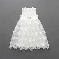 Everweekend Girls Tutu Lace Beading party Dress with Crystal Belts Princess White Dresses