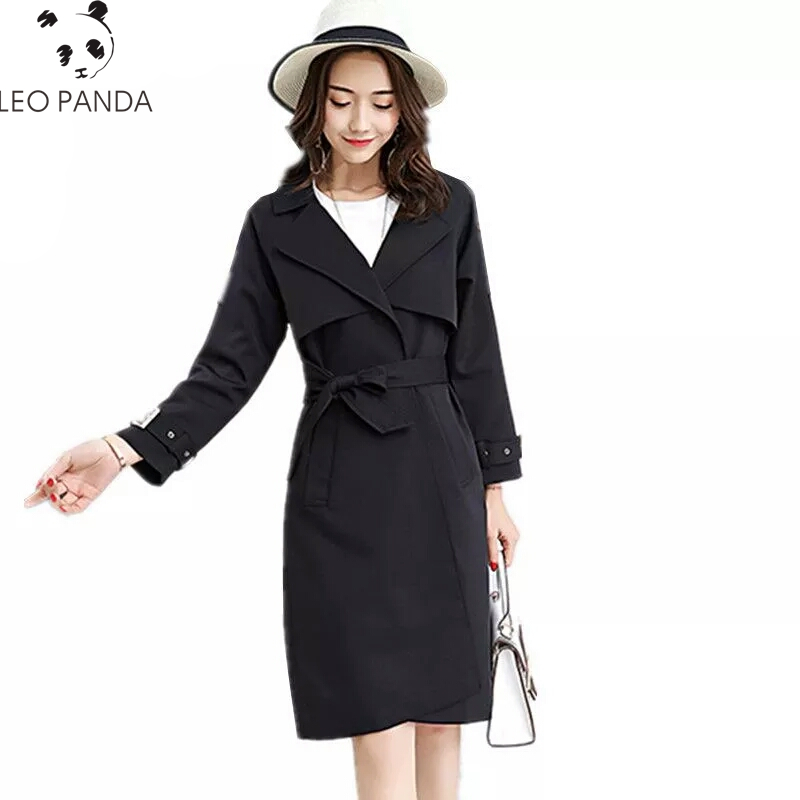 New Women Spring Wide-waisted   Trench   Coat Turn-down Collar Pink Black Long Sleeve Overcoat Autumn Outwear With Sashes Female 325