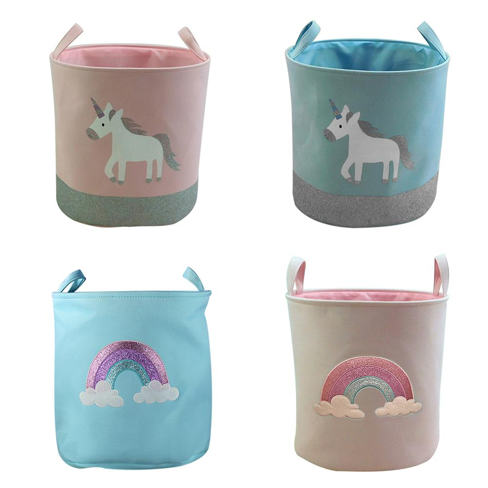 Unicorn and rainbow Decorated Storage Basket Clothing Sundries Holder Organizer Toys Organizer Home Storage & Organization