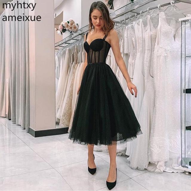 2020 New Black Prom Dress Spaghetti Strap Polka Dot Tulle Tea Length Formal Party Gowns Short Vestido De Festa Dress Elegant
