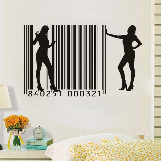 PVC Bar Code Sexy Girl Wall Sticker Art Design Removable Wall Decal House  Decor Decals For