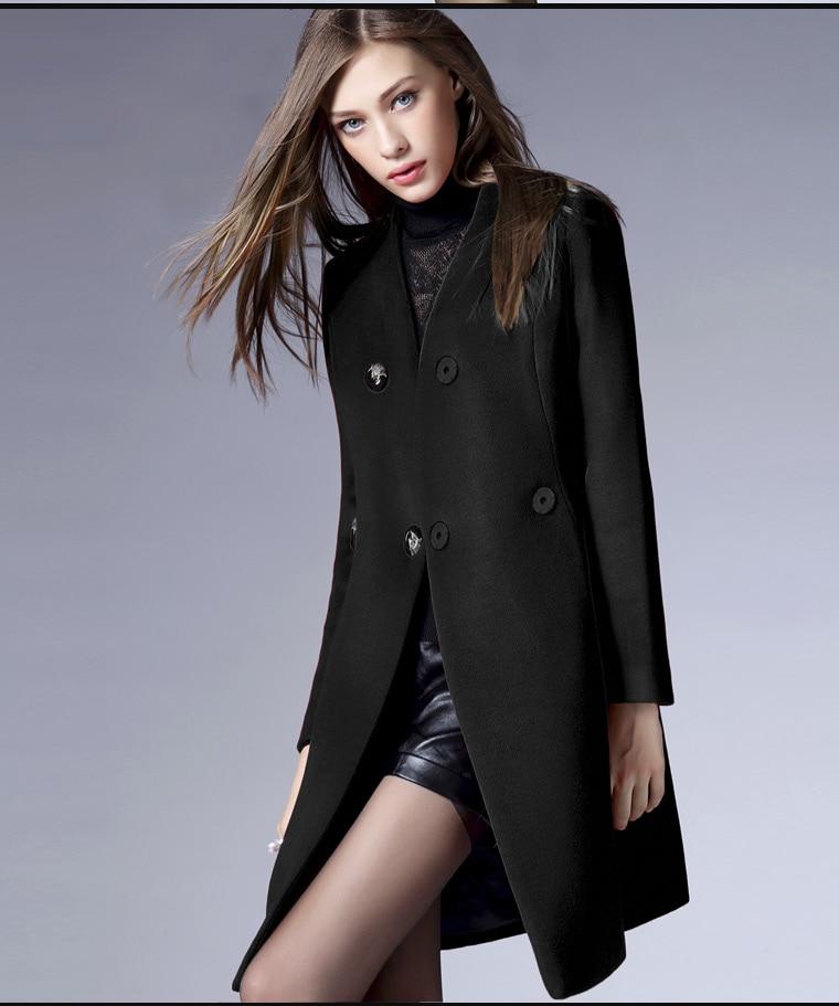 2015 Autumn Winter Wool Coats Women Petite Red Black Orange Jacket ...