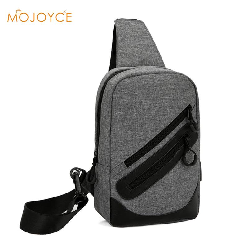 Men Canvas Laptop Chest Bag Back Pack Travel USB Charge Satchel Crossbody Bags for Men Fashion Multifunction Sling Shoulder Bag