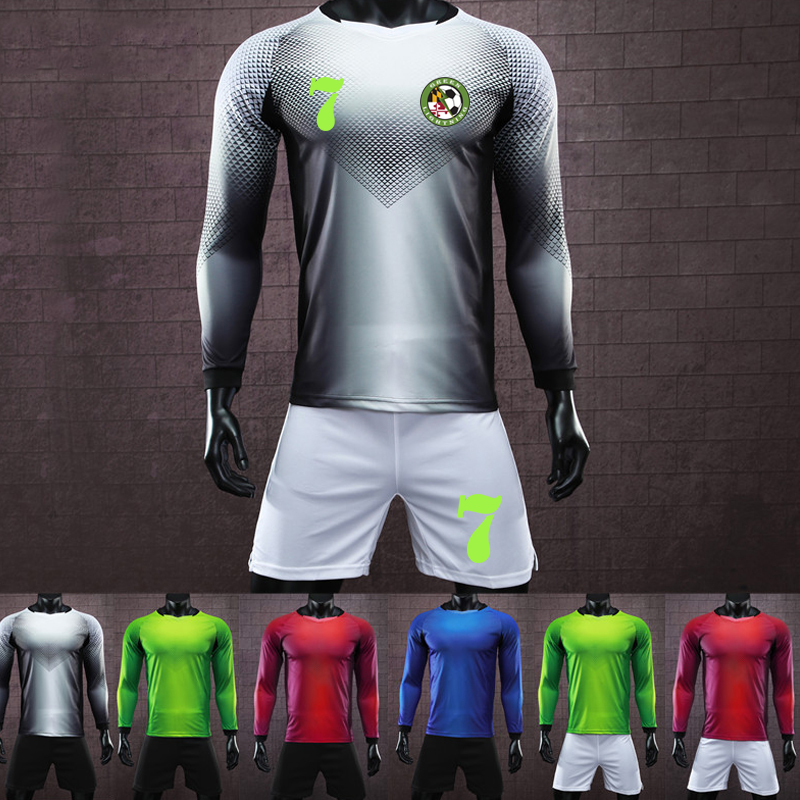 Long Men's Football Jersey Kit Tracksuit Custom Top Paintless Men & Kids Soccer Training Jersey Suit Goalkeeping Soccer Uniforms