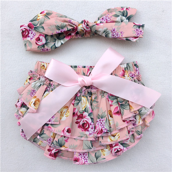 d41b2fbf48a Newborn Baby Bloomers printed cotton Shorts + Headband 2pcs Set Ruffle  bubble PP Girl bloomer Pants baby bloomers diaper covers-in Shorts from  Mother   Kids ...