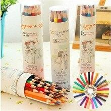 Продажа Бесплатная доставка цветные карандаши Комплект Детская Карандаши цветные ручная роспись маслом искусства студентов посвященный детям 48 цвет 36