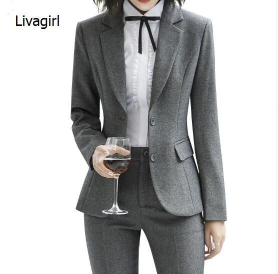 Весенне летний модный комплект из двух предметов, женские брючные костюмы, тонкая рабочая одежда, офисный Женский блейзер с длинным рукавом