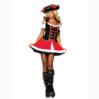 Free Shipping Wholesale Red Pirate Costumes for women Hot Sale pirate character Cosplay Dress with Cute skirt Sexy costume