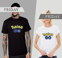 T Shirts Spoof LOGO POKEMON Pika GO Golden PU Printed 180g Combed Cotton Casual Funny T shirts Customized#40