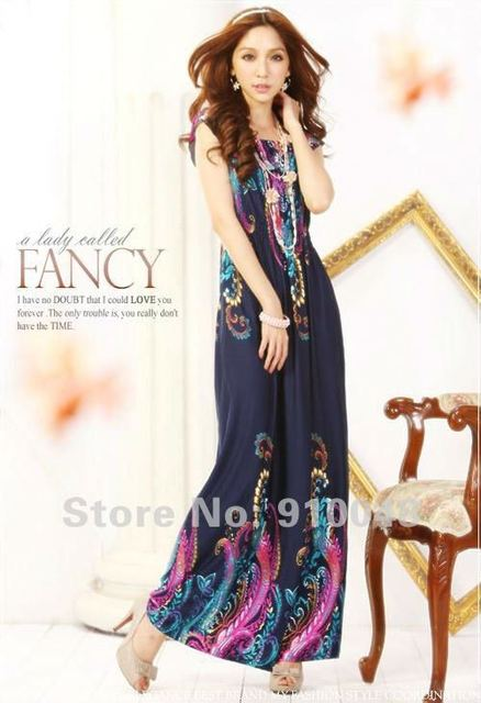 2015 European American style women Bohemian slim  long floral  beach dress / ice silk dress