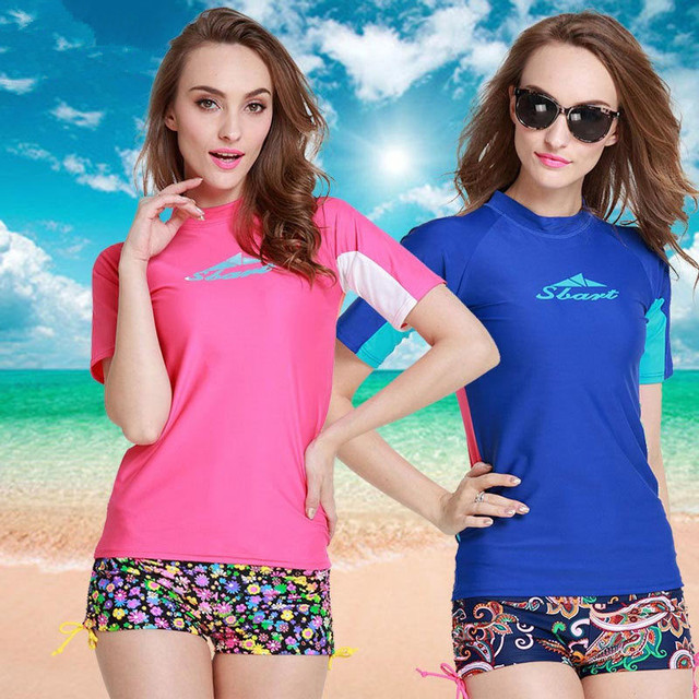 160bfa7642843 Rash Guard Women Short Sleeve Swimsuit For Surfing Diving Lycra Rashguard  Surf Top Women Swim T Shirts Rashgard UPF50 UV H